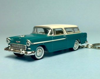1955 Chevrolet Nomad - Novelty keychain made from 1/64 scale die cast model car
