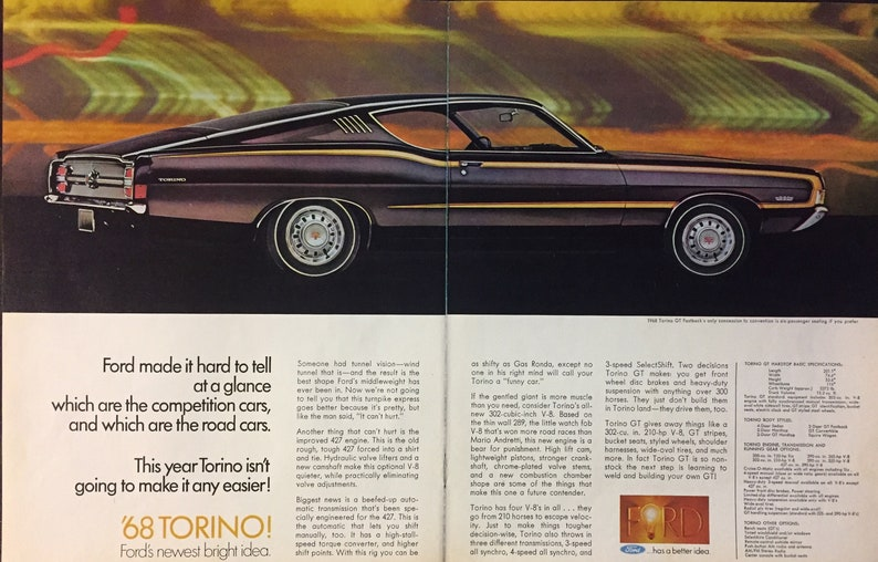 1968 ford Torino GT Fastback original magazine advertisement