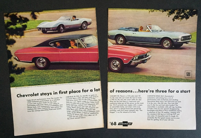 1968 Chevelle SS 396-1968 Camaro SS-1968 Corvette Stingray-Original  Magazine Advertisement