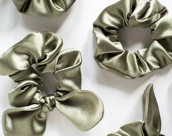 Silver Satin Hair Scrunchies, Bow Scrunchie, Scrunchy, Top Knot, Hair Tie, Gentle Hair Elastic,Hair Accessory,Thick Hair,Curly Hair,Stocking