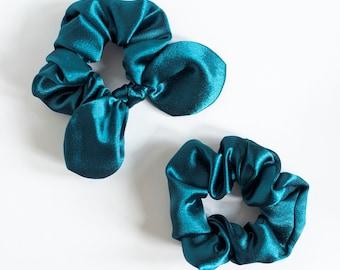 Teal Satin Hair Scrunchies, Bow Scrunchie, Scrunchy, Top Knot, Hair Tie, Gentle Hair Elastic, Hair Accessory, Thick Hair,Curly Hair,Stocking