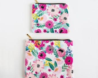 Floral Zippered Pouch, Zipper Bag, Handmade Pouch, Pencil Case, Backpack Pouch, Cosmetic Bag, Flat Bag, Large Zipper Pouch for Women,Zip Bag