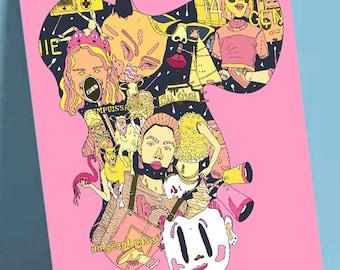 "Postcard format A6 print illustration on quality paper 300gr matte finish ""Galette des rois"""