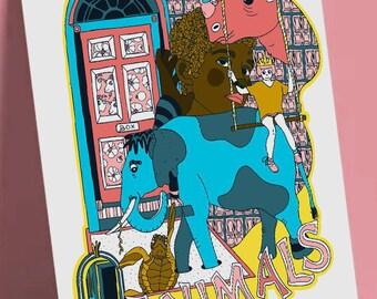 "Postcard format A6 print illustration on quality paper 300gr matte finish ""Animals"""