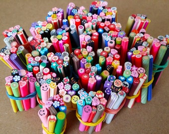 Cannes in Fimo MIX ALEATOIRE in batch of 10 canes for scrapbooking, nail art, jewelry creation and other creative works.