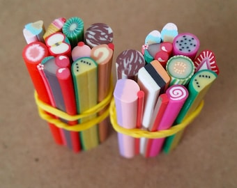 Cannes in Fimo SUCRERIES and FRUITS in batch of 10 canes for scrapbooking, nail art, jewelry creation and other creative works.