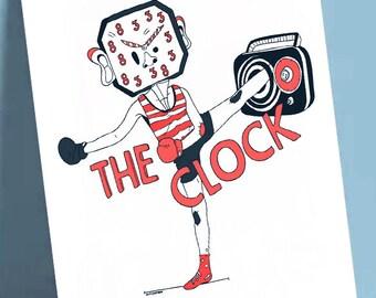 "Postcard format A6 print illustration on quality paper 300gr matte finish ""The Clock"""