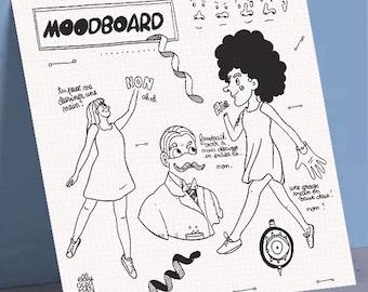 "10x10cm print illustration card on 300gr watercolor ""MoodBoard"""