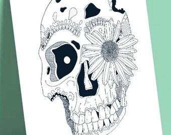 """Postcard format A6 print illustration on quality paper 300gr matte finish """"Flower Skull"""""""