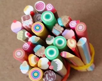 Cannes in Fimo SUCRERIES in batch of 10 canes for scrapbooking, nail art, jewelry creation and other creative works.