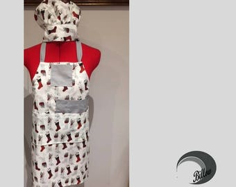 Cooking Apron and Chef Hat kit - 5 pockets apron