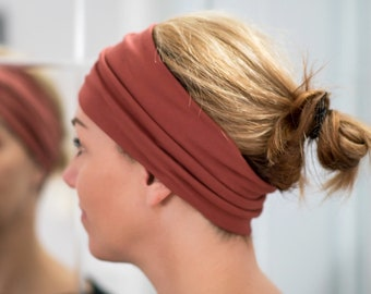 Headband Thin in cotton   Yoga headband Fashion accessory rusty orange