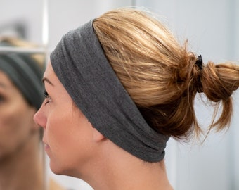 Headband Thin in cotton   Yoga headband Fashion accessory dark grey