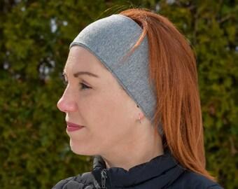Headband Thin in cotton   Yoga headband Fashion accessory grey