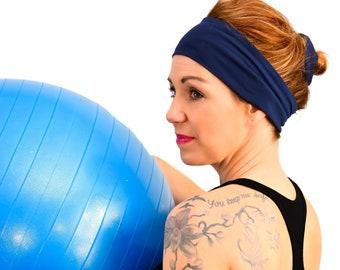 Headband Thin in cotton   Yoga headband Fashion accessory Blue Navy