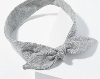 Organic cotton tie headband  Yoga headband Fashion accessory grey