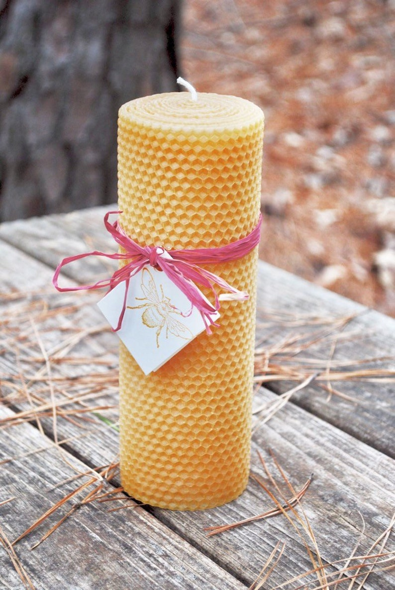 "100/% Natural Hand-rolled Navy Blue Honeycomb Beeswax 4"" Pillar Candle Non-toxic"