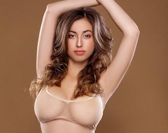cdcd1e5e53759 Evita lingerie set - sheer beige mesh bra  lingerie top  nude bralette   sexy sheer lingerie set   back clasp  softest bra  large bust