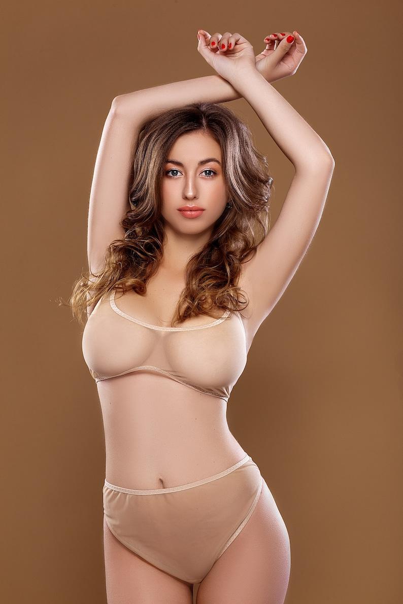 7a80e9f17 EVITA lingerie set sheer beige mesh bra  lingerie top  nude