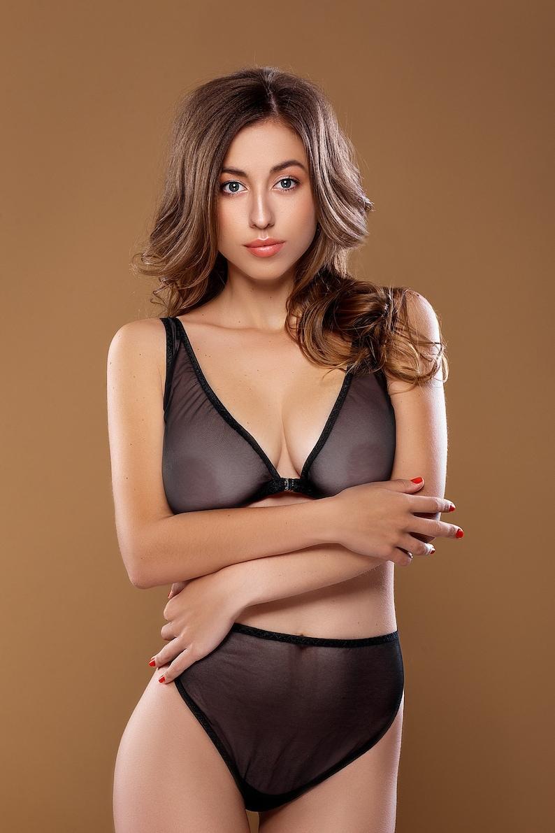 398ad849ef3 EVELYN lingerie set sheer black mesh bra/ black bralette/ | Etsy