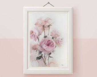 Original watercolor painting Pink rose floral artwork Flower wall art