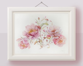 Original painting Peony botanical wall art Watercolor flowers botanical illustration Floral watercolor painting