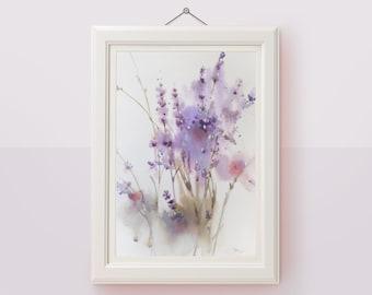 Original watercolor floral painting Lavender wall art