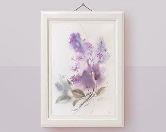 Original watercolor painting Lilac floral painting
