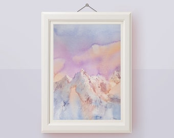 Original abstract painting Mountain watercolor painting Mountains wall art