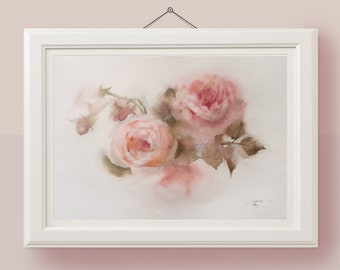 Original watercolor painting Rose painting picture Rose wall decor Pink floral painting Pink roses chic painting Garden roses