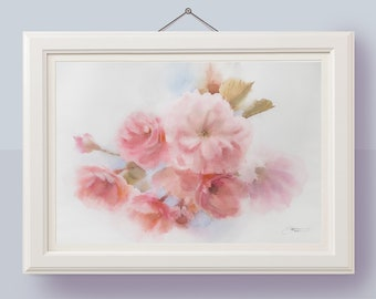 Original cherry blossom painting Watercolor flowers Floral painting