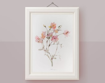 Sweet pea botanical wall art Original watercolor painting Flower illustration