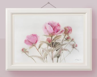 Original watercolor floral painting Pink peony wall art Flower botanical artwork
