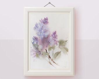 Original watercolor painting Lilac floral wall art