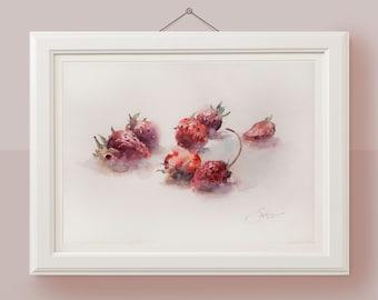 Original botanical illustration Strawberry watercolor painting