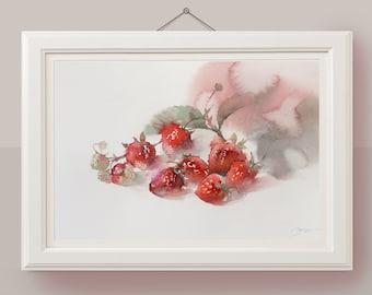 Original watercolor painting Strawberry painting