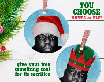 biggie ornament notorious new wave christmas santa hat funny gifts decorate christmas elf xmas tree decor 80s goth gifts - Funny Christmas Hats Adults