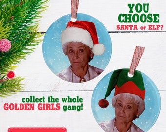 sophia petrillo ornament golden girls santa hat funny gifts decorate christmas elf xmas tree decor gifts for her girlfriend bff - Golden Girls Christmas