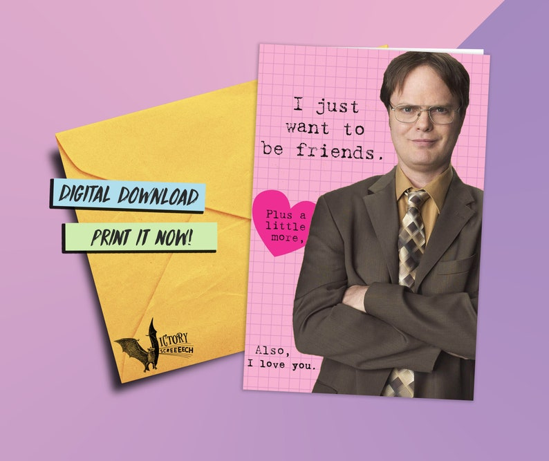 fbc69e4475b Dwight Schrute Valentine Card printable The Office funny