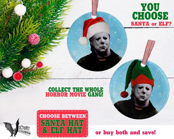 image 0 - Michael Myers ORNAMENT Halloween Christmas Santa Hat Funny Etsy