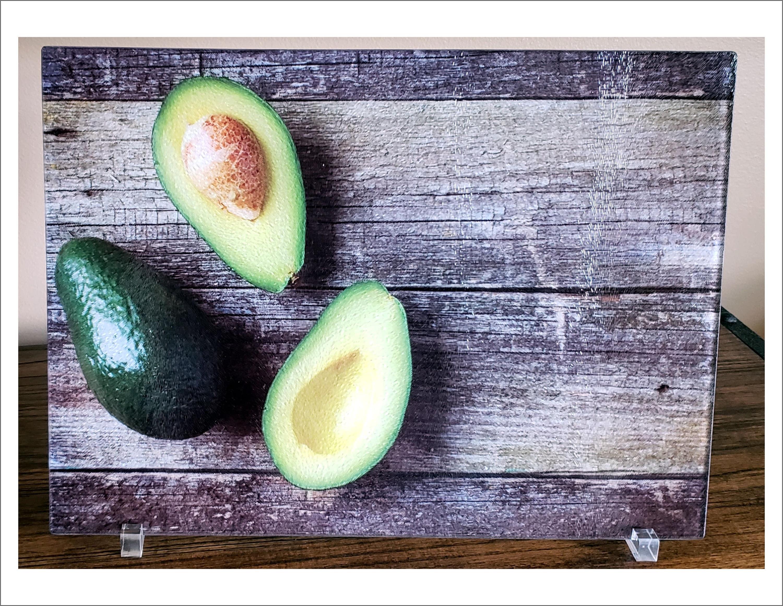 Avocado Kitchen Decor Personalized Glass Cutting Board Large Etsy