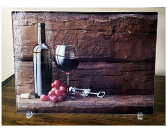 Rustic Wine Decoration, Glass Cutting Board, Kitchen Wine Decor,  Personalized Gift, Housewarming Gift, Hostess Gift Idea, Wine Cellar Decor
