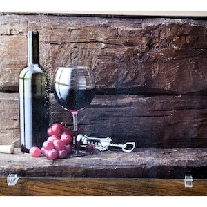 Glass cutting board New vacation home hostess gift Rustic wine personalized housewarming gift Large cheese plate Gift for wine lover