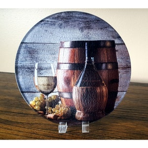 Large trivet Wine themed kitchen decor Realtorclient gift Thank you gift Glass cutting board Abstract Wine bar counter top decor