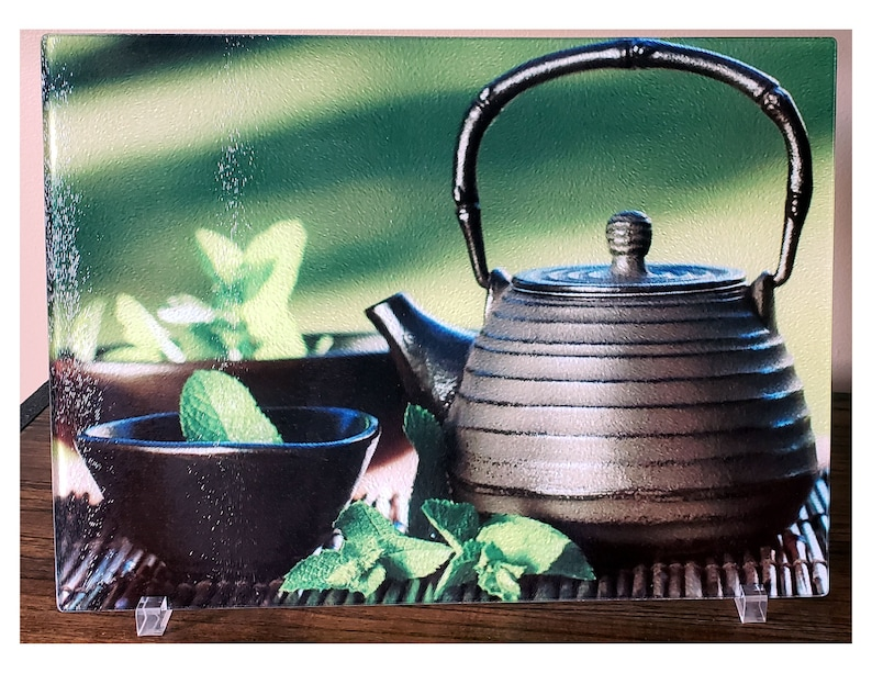 Tea Kettle Decoration Glass Cutting Board Kitchen Etsy