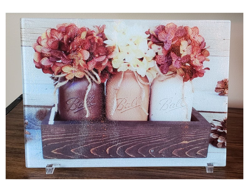 Kitchen counter decor Autumn floral decor Home /& Kitchen Fall Decor Glass cutting board Mason jar decoration