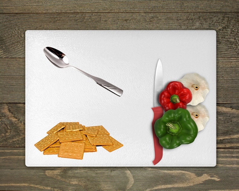 Holiday kitchen decoration Hostess gift Christmas cutting board Party table decor Glass trivet Gingerbread cookies glass cutting board