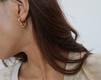 b40f35d83 Gold heart hoop earrings, gold hoop earrings, heart shaped earrings,  minimalist jewelry, heart shaped hoops, 18k gold plated