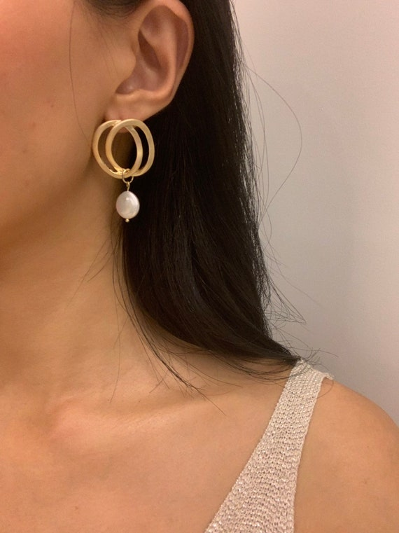 baroque-pearl-drop-earrings-gold-double-hoop-pearl-earrings,-pearl-hoop-earrings,-flat-pearl-earrings,-pearl-drop-earrings,-minimalist by etsy