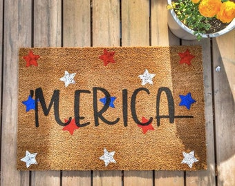 Patriotic 4th of July porch decor is some of my favorite home decor to shop for! Etsy is an especially great spot to find unique decor finds--and that includes patriotic porch decor. You can't go wrong with this 'Merica door mat.